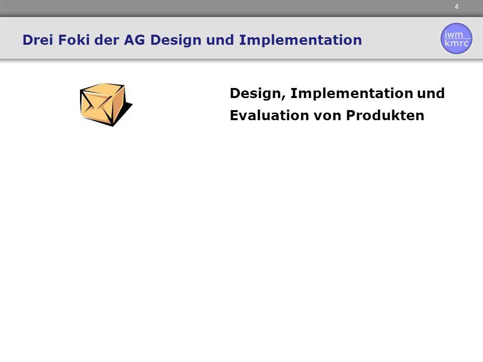 4 Design, Implementation und Evaluation von Produkten Drei Foki der AG Design und Implementation