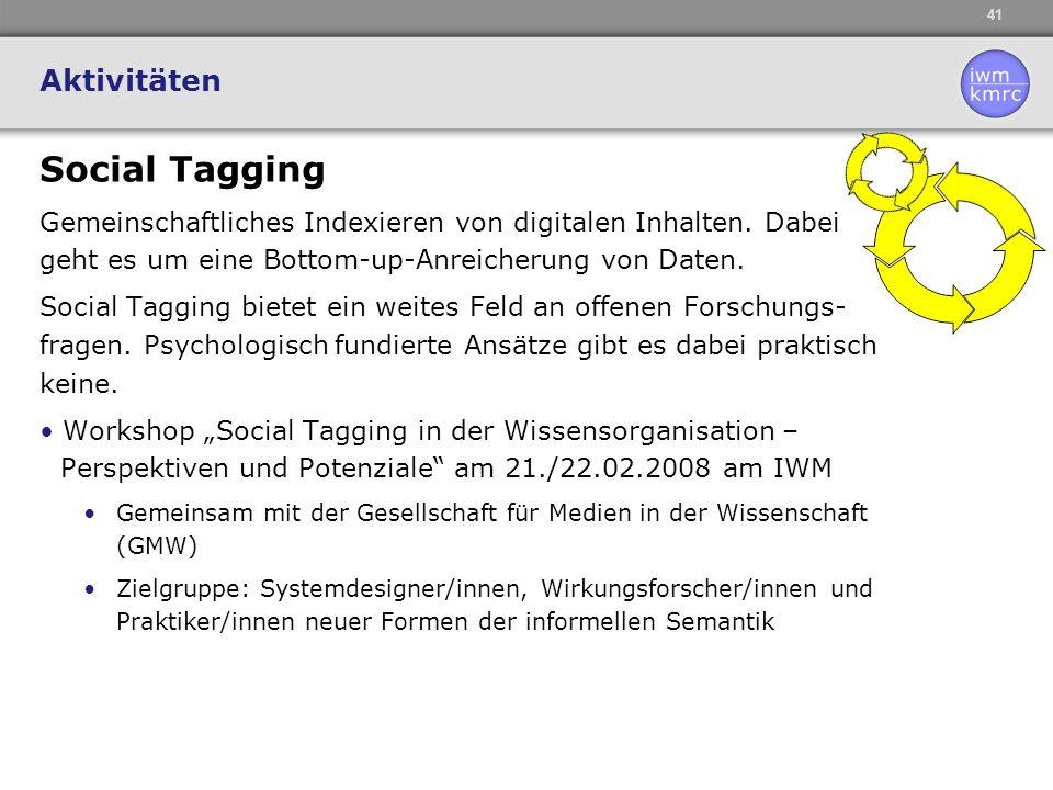 41 Aktivitäten Social Tagging Gemeinschaftliches Indexieren von digitalen Inhalten. Dabei geht es um eine Bottom-up-Anreicherung von Daten. Social Tag