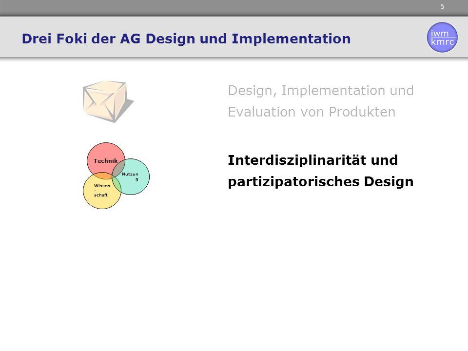 6 Design, Implementation und Evaluation von Produkten Drei Foki der AG Design und Implementation Technik Wissen - schaft Nutzu ng Interdisziplinarität und partizipatorisches Design Verknüpfung individueller und kollektiver Prozesse