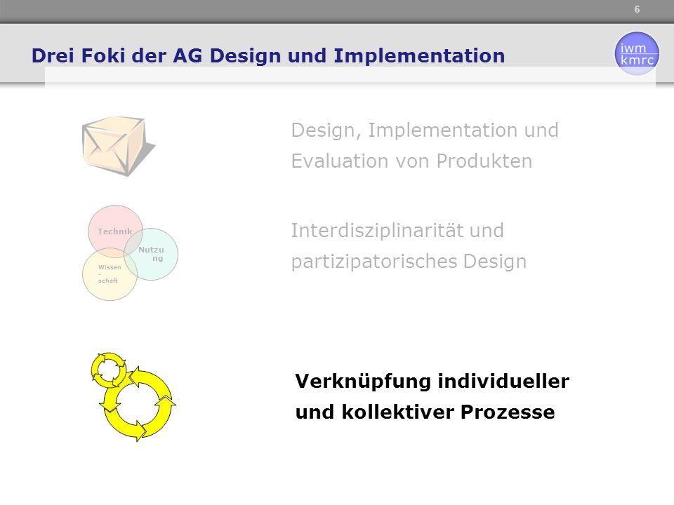 6 Design, Implementation und Evaluation von Produkten Drei Foki der AG Design und Implementation Technik Wissen - schaft Nutzu ng Interdisziplinarität