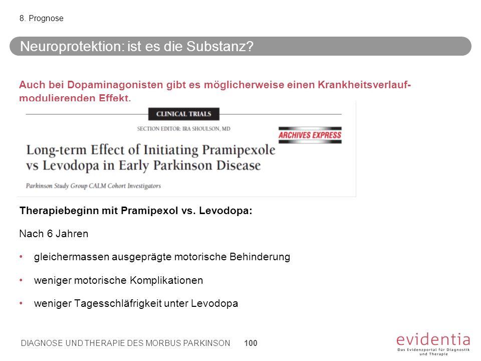Neuroprotektion: ist es die Substanz? Auch bei Dopaminagonisten gibt es möglicherweise einen Krankheitsverlauf- modulierenden Effekt. Therapiebeginn m