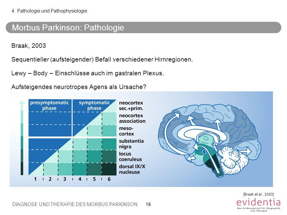 Morbus Parkinson: Pathologie 4. Pathologie und Pathophysiologie [Braak et al., 2003] Braak, 2003 Sequentieller (aufsteigender) Befall verschiedener Hi