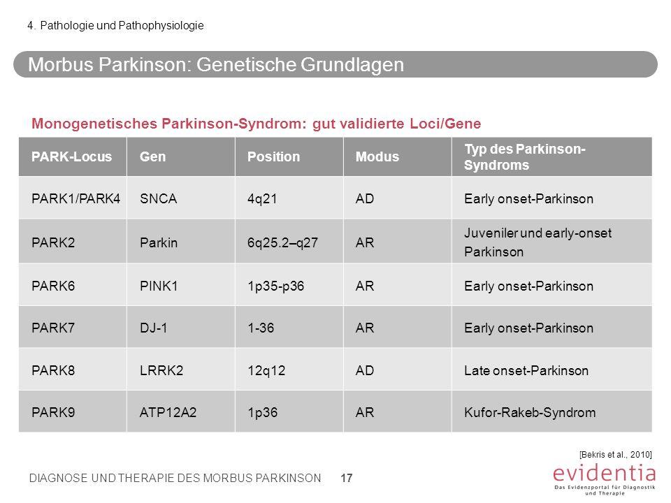 Morbus Parkinson: Genetische Grundlagen 4. Pathologie und Pathophysiologie [Bekris et al., 2010] DIAGNOSE UND THERAPIE DES MORBUS PARKINSON 17 Monogen