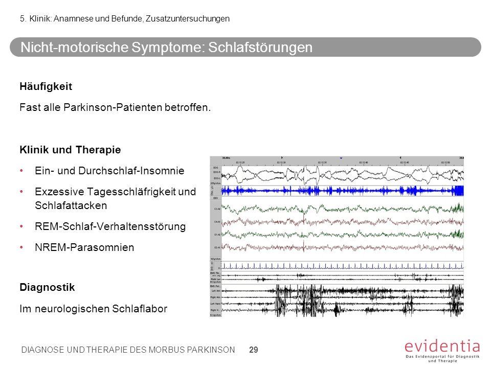 Nicht-motorische Symptome: Schlafstörungen Häufigkeit Fast alle Parkinson-Patienten betroffen. Klinik und Therapie Ein- und Durchschlaf-Insomnie Exzes