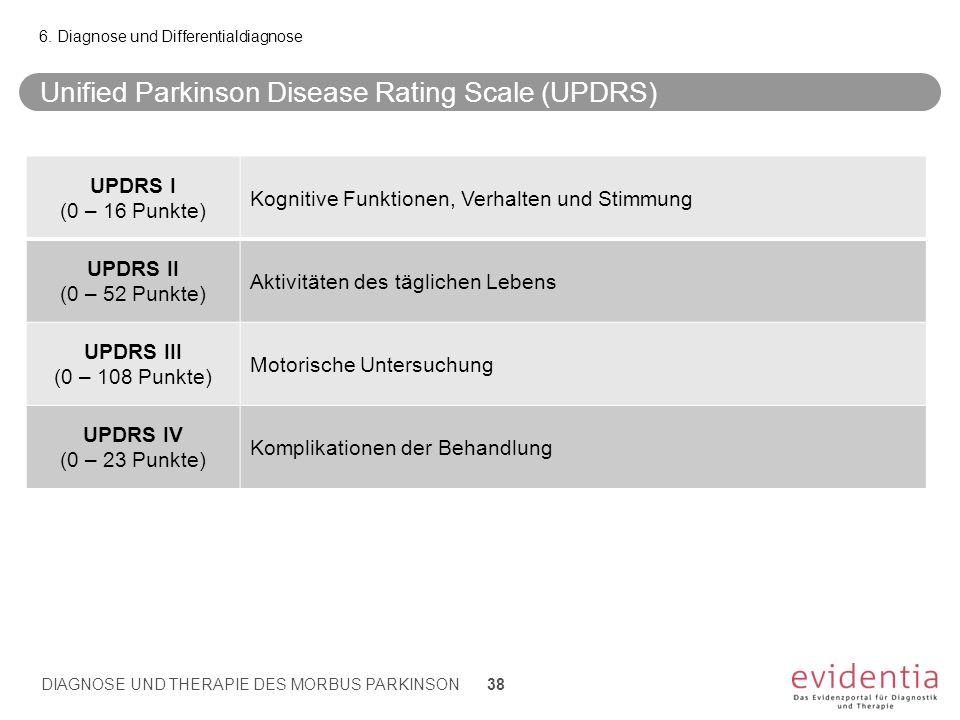 Unified Parkinson Disease Rating Scale (UPDRS) 6. Diagnose und Differentialdiagnose UPDRS I (0 – 16 Punkte) Kognitive Funktionen, Verhalten und Stimmu