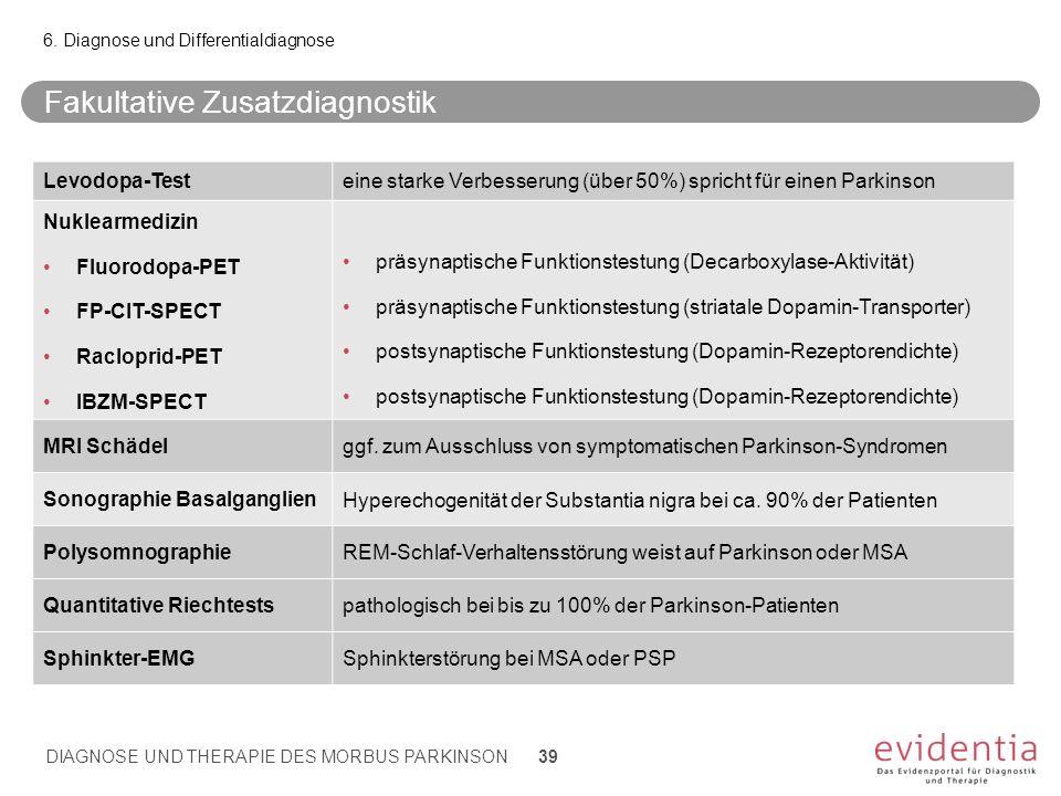 Fakultative Zusatzdiagnostik 6. Diagnose und Differentialdiagnose DIAGNOSE UND THERAPIE DES MORBUS PARKINSON 39 Levodopa-Testeine starke Verbesserung