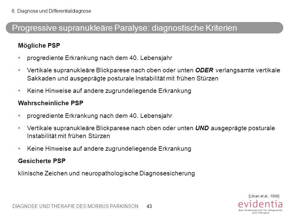 Progressive supranukleäre Paralyse: diagnostische Kriterien 6. Diagnose und Differentialdiagnose DIAGNOSE UND THERAPIE DES MORBUS PARKINSON 43 Möglich