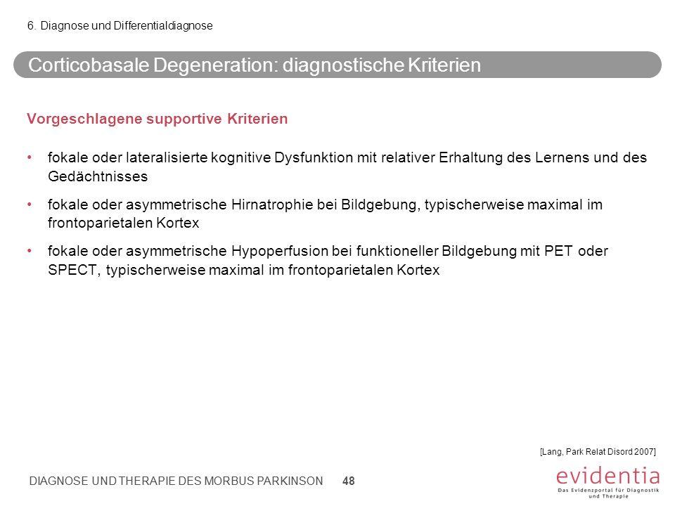 DIAGNOSE UND THERAPIE DES MORBUS PARKINSON Corticobasale Degeneration: diagnostische Kriterien Vorgeschlagene supportive Kriterien fokale oder lateral