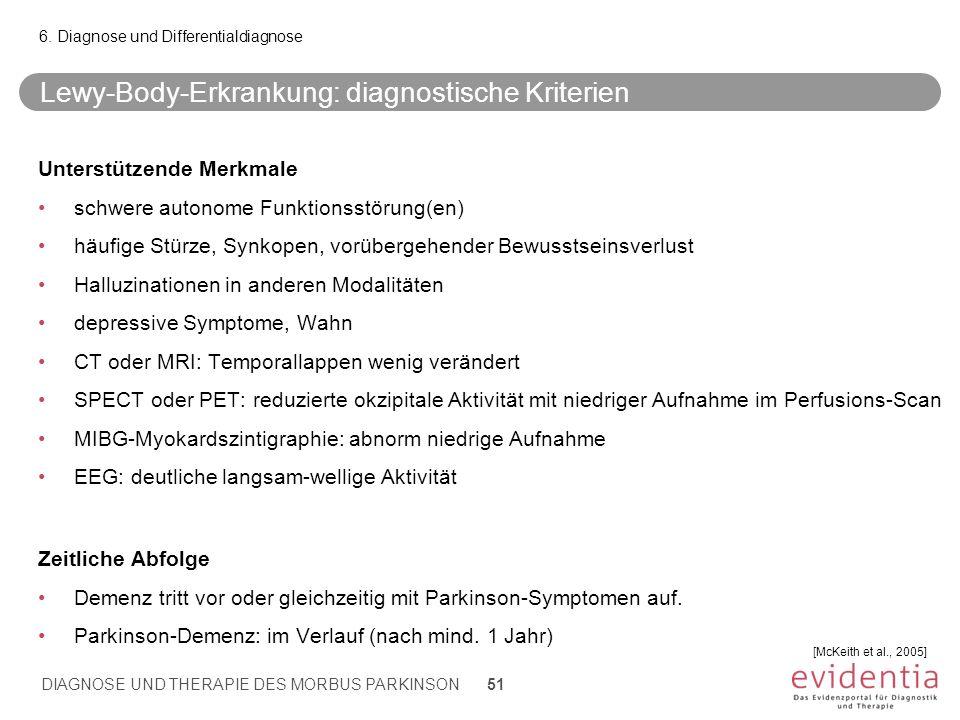 Lewy-Body-Erkrankung: diagnostische Kriterien Unterstützende Merkmale schwere autonome Funktionsstörung(en) häufige Stürze, Synkopen, vorübergehender