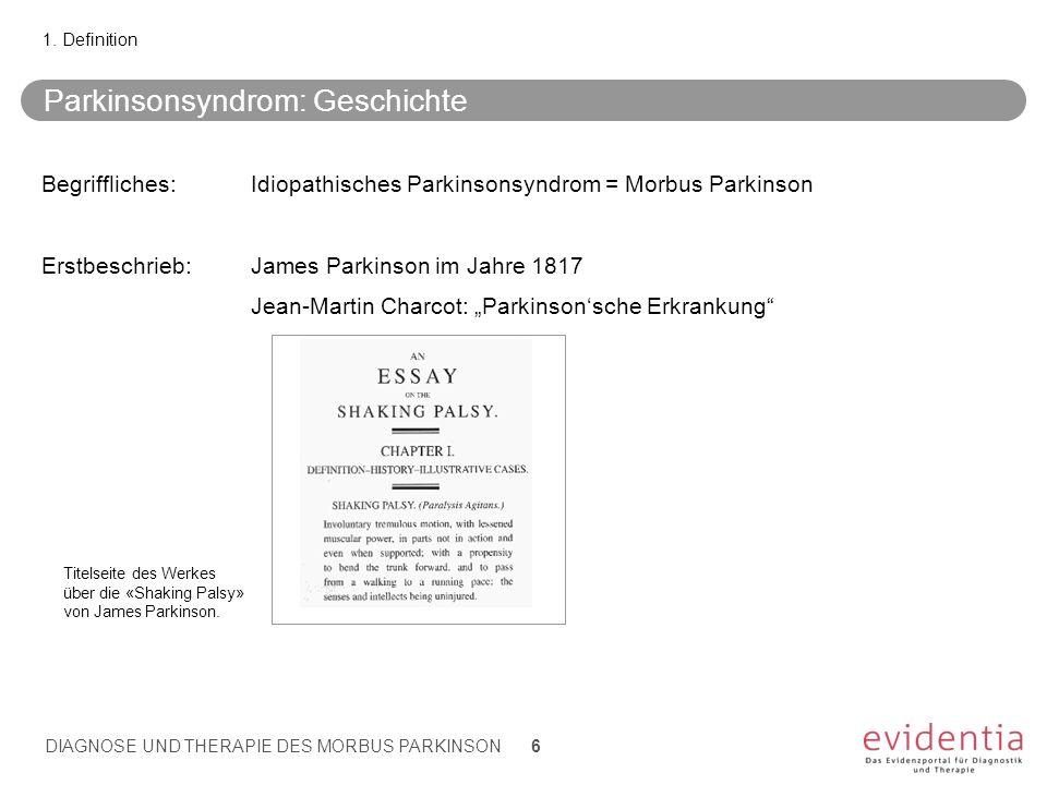 Parkinsonsyndrom: Geschichte Begriffliches:Idiopathisches Parkinsonsyndrom = Morbus Parkinson Erstbeschrieb:James Parkinson im Jahre 1817 Jean-Martin