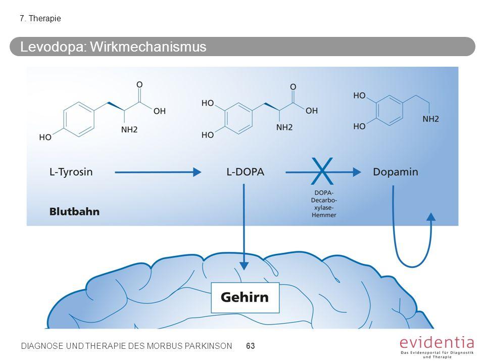 Levodopa: Wirkmechanismus 7. Therapie DIAGNOSE UND THERAPIE DES MORBUS PARKINSON 63
