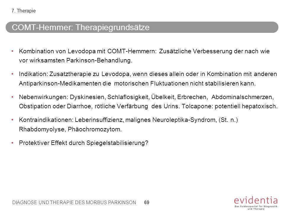 COMT-Hemmer: Therapiegrundsätze Kombination von Levodopa mit COMT-Hemmern: Zusätzliche Verbesserung der nach wie vor wirksamsten Parkinson-Behandlung.