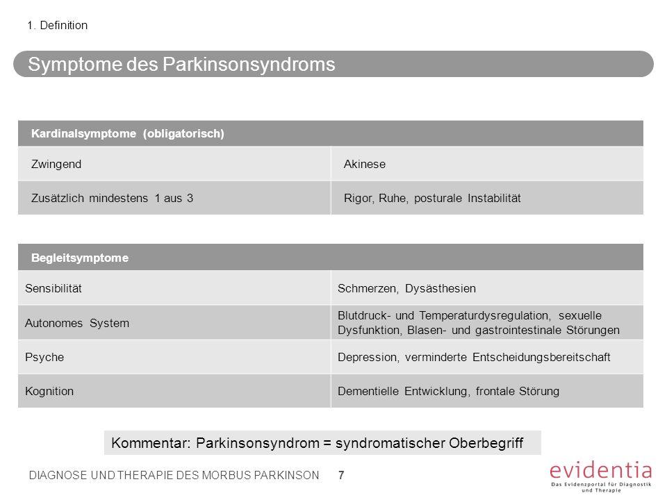 Symptome des Parkinsonsyndroms 1. Definition Kardinalsymptome (obligatorisch) ZwingendAkinese Zusätzlich mindestens 1 aus 3Rigor, Ruhe, posturale Inst
