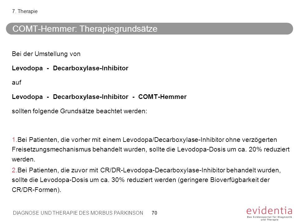 COMT-Hemmer: Therapiegrundsätze Bei der Umstellung von Levodopa - Decarboxylase-Inhibitor auf Levodopa - Decarboxylase-Inhibitor - COMT-Hemmer sollten