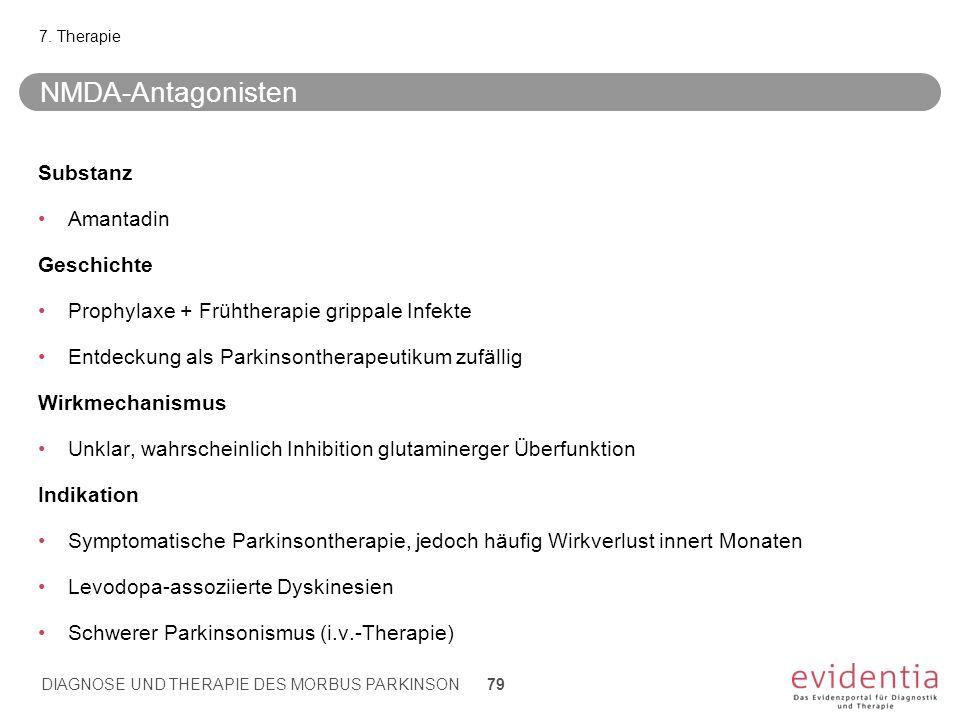 NMDA-Antagonisten Substanz Amantadin Geschichte Prophylaxe + Frühtherapie grippale Infekte Entdeckung als Parkinsontherapeutikum zufällig Wirkmechanis