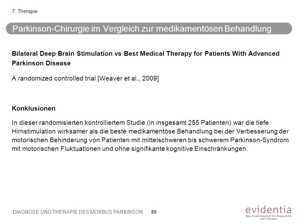 Parkinson-Chirurgie im Vergleich zur medikamentösen Behandlung Bilateral Deep Brain Stimulation vs Best Medical Therapy for Patients With Advanced Par