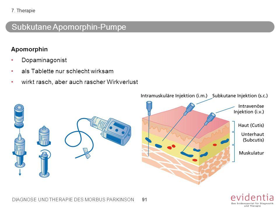 Subkutane Apomorphin-Pumpe Apomorphin Dopaminagonist als Tablette nur schlecht wirksam wirkt rasch, aber auch rascher Wirkverlust 7. Therapie DIAGNOSE
