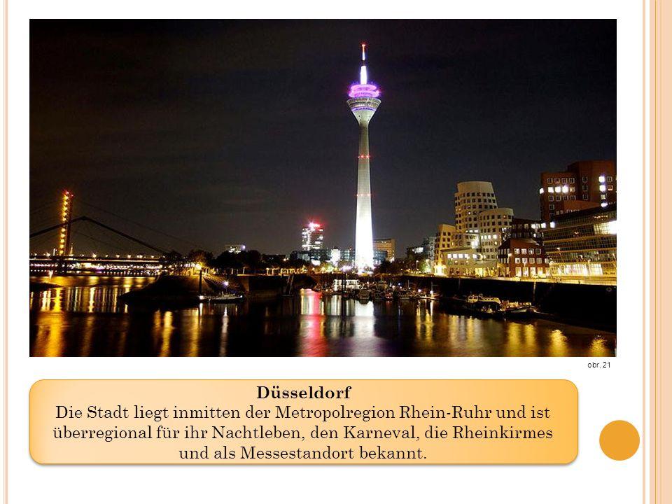 Düsseldorf Die Stadt liegt inmitten der Metropolregion Rhein-Ruhr und ist überregional für ihr Nachtleben, den Karneval, die Rheinkirmes und als Messestandort bekannt.