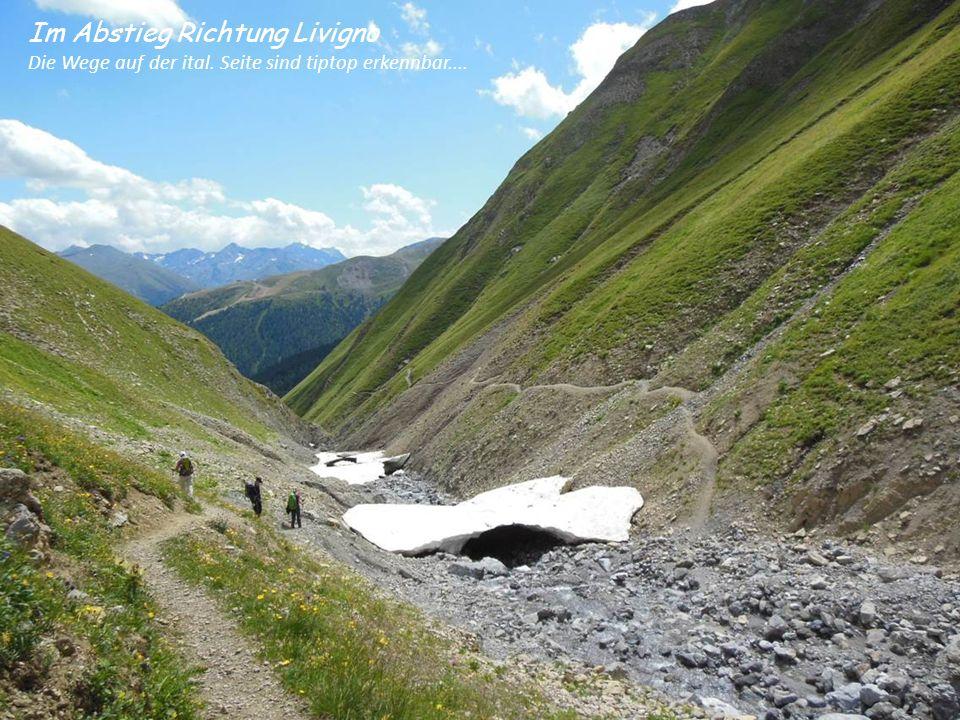Im Abstieg Richtung Livigno Die Wege auf der ital. Seite sind tiptop erkennbar....