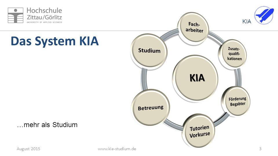 KIA 14August 2015www.kia-studium.de KIA-Informationen Internet: www.kia-studium.de www.kia-studium.de Modulkataloge der Studiengänge: https://web.hszg.de/Modulkatalog/index.php?activTopic=4&activNav=1&activCont=1 https://web.hszg.de/Modulkatalog/index.php?activTopic=4&activNav=1&activCont=1 auf www.kia-studium.de Ansprechpartner: Hartmut Paetzold Kontaktdaten KIA-Beauftragte h.paetzold@hszg.de der Berufsgruppen Tel: 03583 61 12 07 auf www.kia-studium.dewww.kia-studium.deh.paetzold@hszg.dewww.kia-studium.de