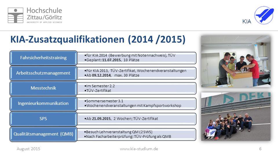 KIA 6August 2015www.kia-studium.de KIA-Zusatzqualifikationen (2014 /2015) für KIA 2014 (Bewerbung mit Notennachweis), TÜV Geplant: 11.07.2015, 10 Plät