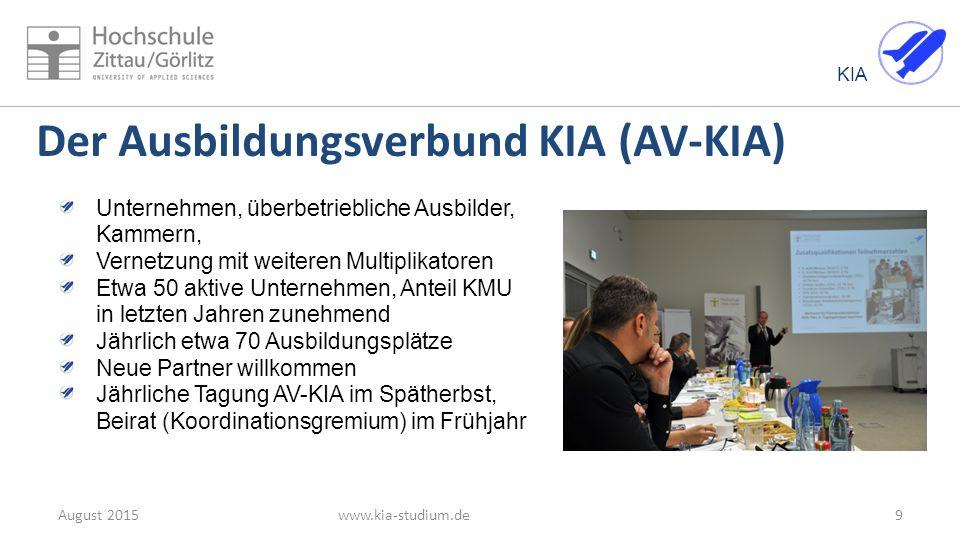 KIA Der Ausbildungsverbund KIA (AV-KIA) www.kia-studium.deAugust 20159 Unternehmen, überbetriebliche Ausbilder, Kammern, Vernetzung mit weiteren Multi