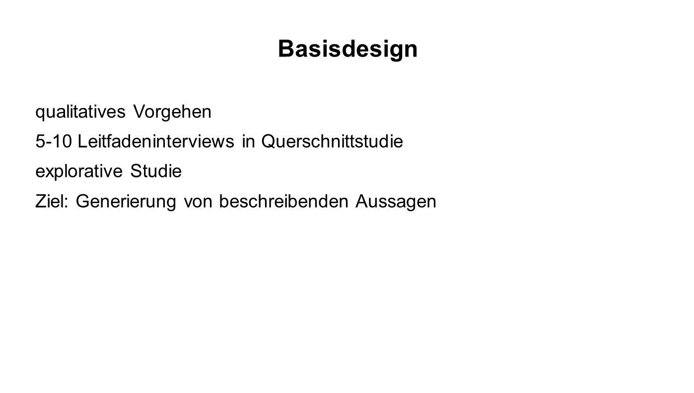 Basisdesign qualitatives Vorgehen 5-10 Leitfadeninterviews in Querschnittstudie explorative Studie Ziel: Generierung von beschreibenden Aussagen