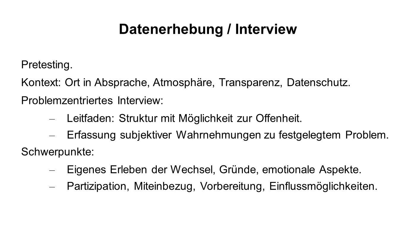 Datenerhebung / Interview Pretesting. Kontext: Ort in Absprache, Atmosphäre, Transparenz, Datenschutz. Problemzentriertes Interview: – Leitfaden: Stru
