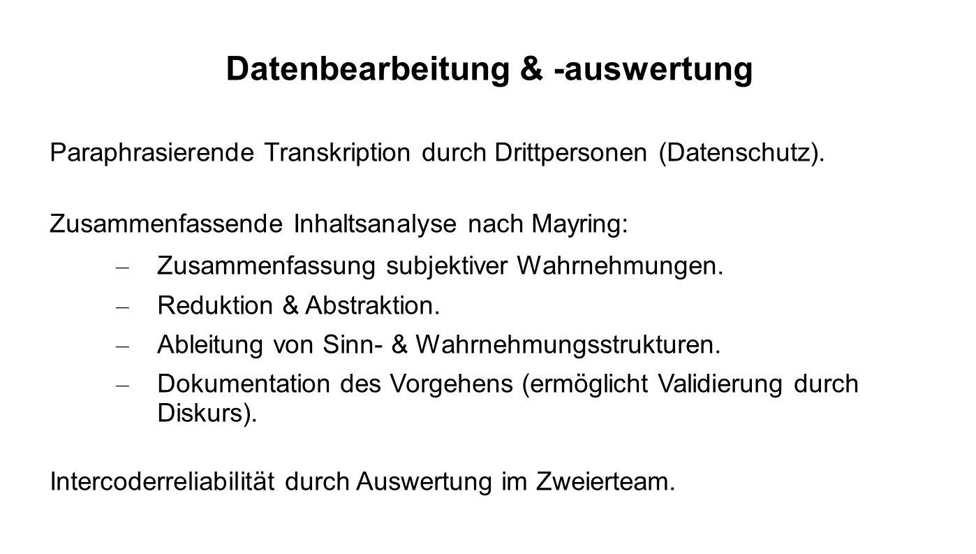 Datenbearbeitung & -auswertung Paraphrasierende Transkription durch Drittpersonen (Datenschutz). Zusammenfassende Inhaltsanalyse nach Mayring: – Zusam