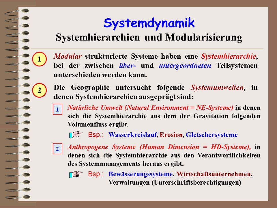 Systemdynamik Systemhierarchien und Modularisierung Modular strukturierte Systeme haben eine Systemhierarchie, bei der zwischen über- und untergeordne