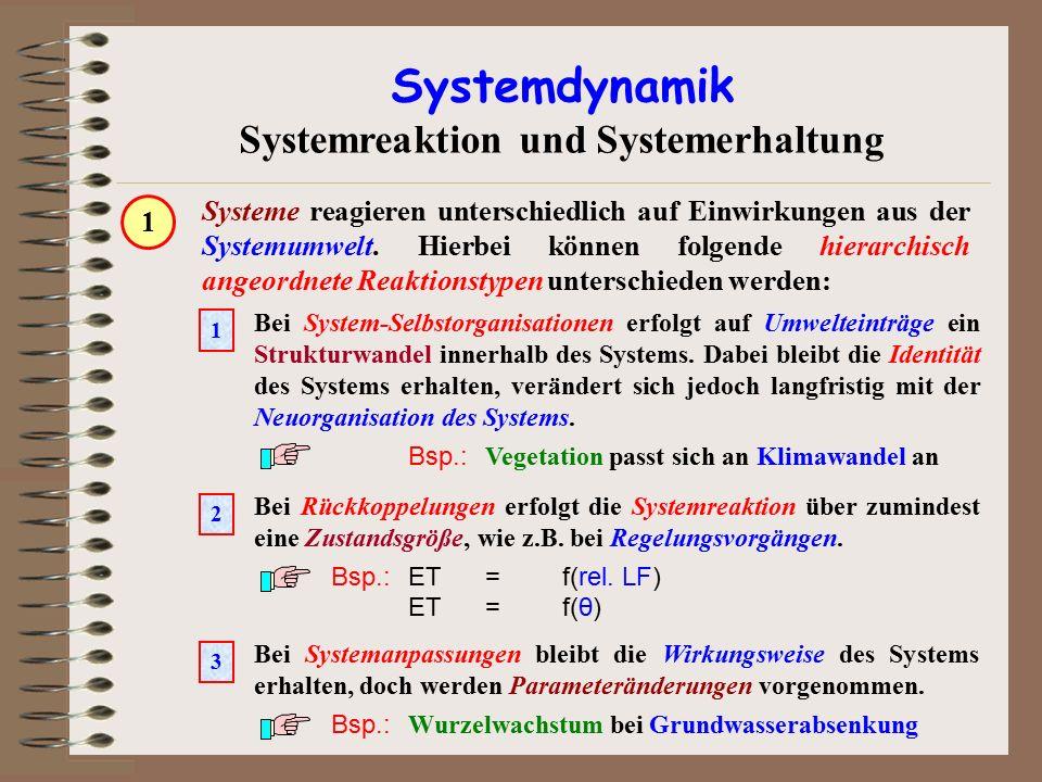 Systemdynamik Systemreaktion und Systemerhaltung Systeme reagieren unterschiedlich auf Einwirkungen aus der Systemumwelt. Hierbei können folgende hier