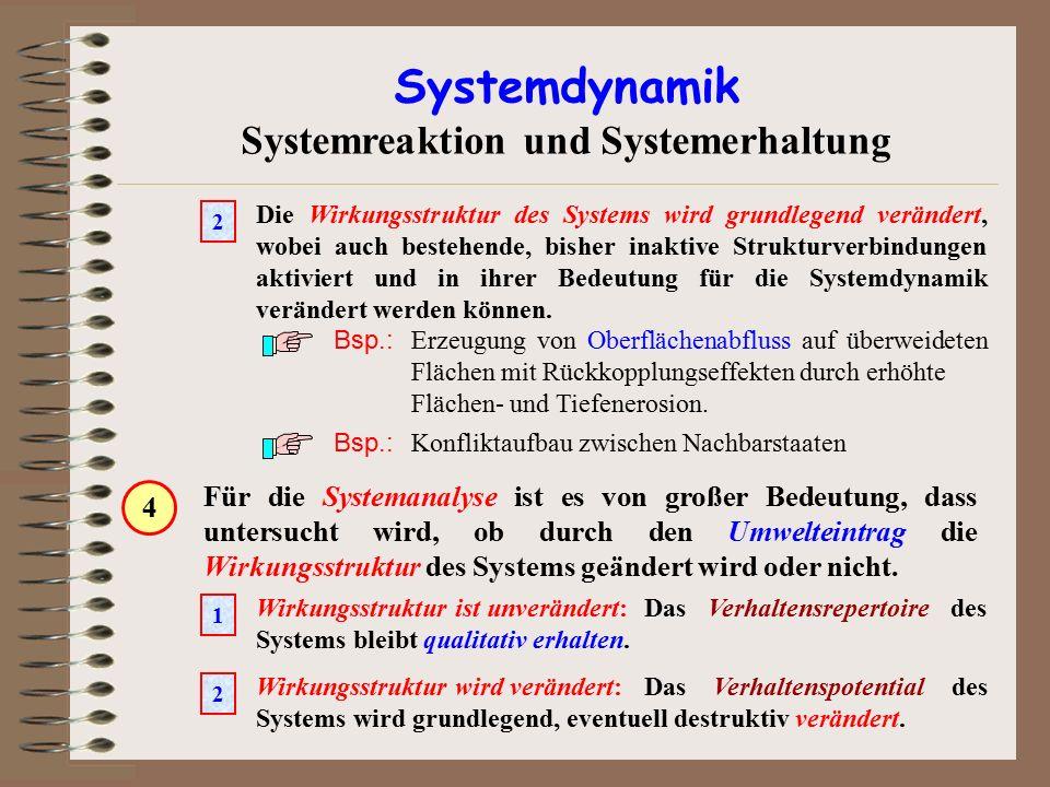 Systemdynamik Systemreaktion und Systemerhaltung Für die Systemanalyse ist es von großer Bedeutung, dass untersucht wird, ob durch den Umwelteintrag d