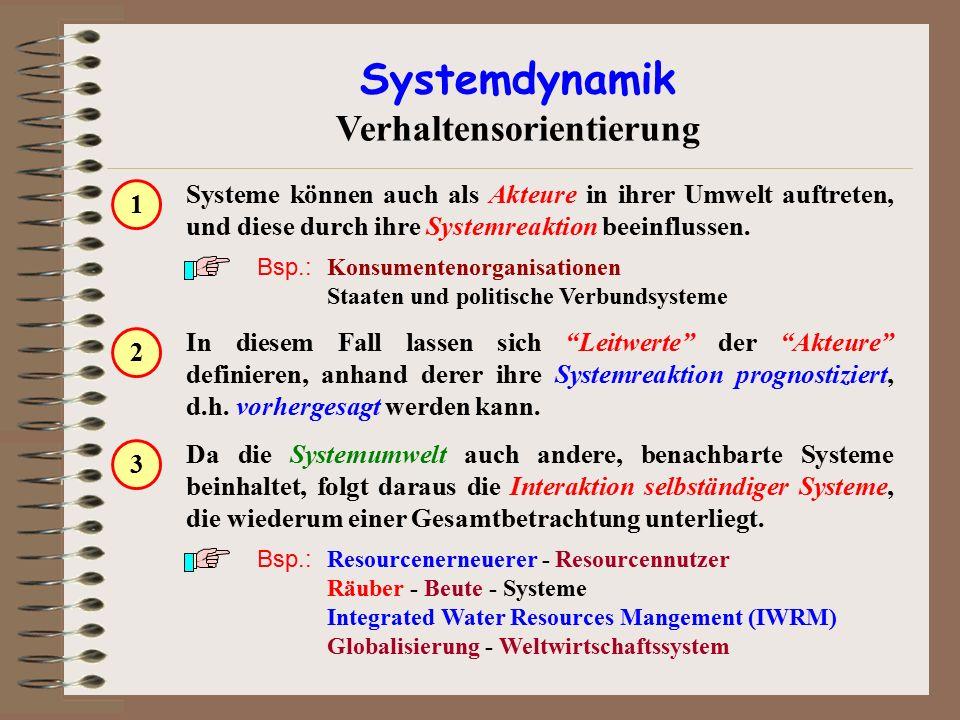 Systemdynamik Verhaltensorientierung Systeme können auch als Akteure in ihrer Umwelt auftreten, und diese durch ihre Systemreaktion beeinflussen. Bsp.