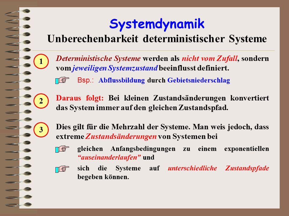Dies gilt für die Mehrzahl der Systeme. Man weis jedoch, dass extreme Zustandsänderungen von Systemen bei gleichen Anfangsbedingungen zu einem exponen