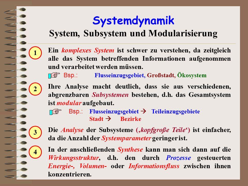 Ihre Analyse macht deutlich, dass sie aus verschiedenen, abgrenzbaren Subsystemen bestehen, d.h. das Gesamtsystem ist modular aufgebaut. Bsp.: Flussei