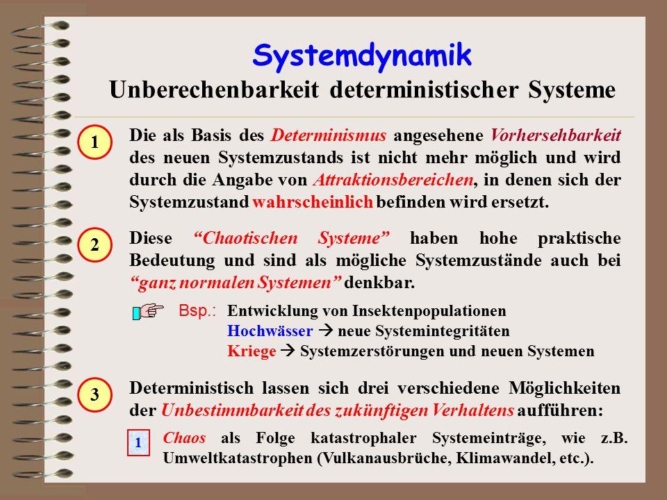 Systemdynamik Unberechenbarkeit deterministischer Systeme Die als Basis des Determinismus angesehene Vorhersehbarkeit des neuen Systemzustands ist nic