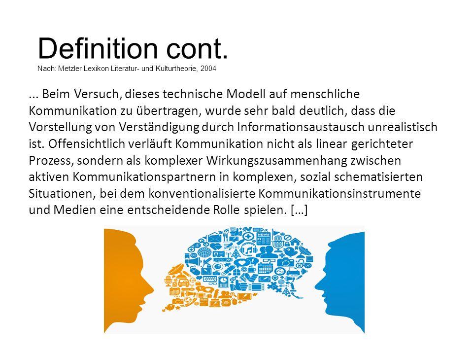 Definition cont. Nach: Metzler Lexikon Literatur- und Kulturtheorie, 2004... Beim Versuch, dieses technische Modell auf menschliche Kommunikation zu ü