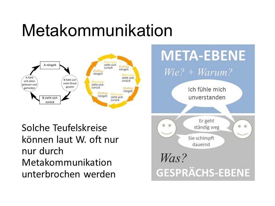 Metakommunikation Solche Teufelskreise können laut W. oft nur nur durch Metakommunikation unterbrochen werden