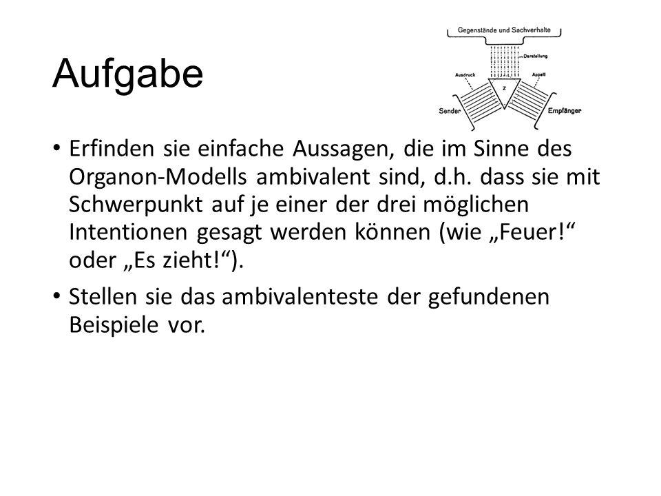 Aufgabe Erfinden sie einfache Aussagen, die im Sinne des Organon-Modells ambivalent sind, d.h.