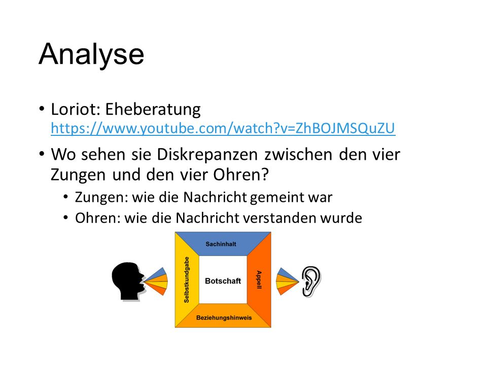 Analyse Loriot: Eheberatung https://www.youtube.com/watch?v=ZhBOJMSQuZU https://www.youtube.com/watch?v=ZhBOJMSQuZU Wo sehen sie Diskrepanzen zwischen