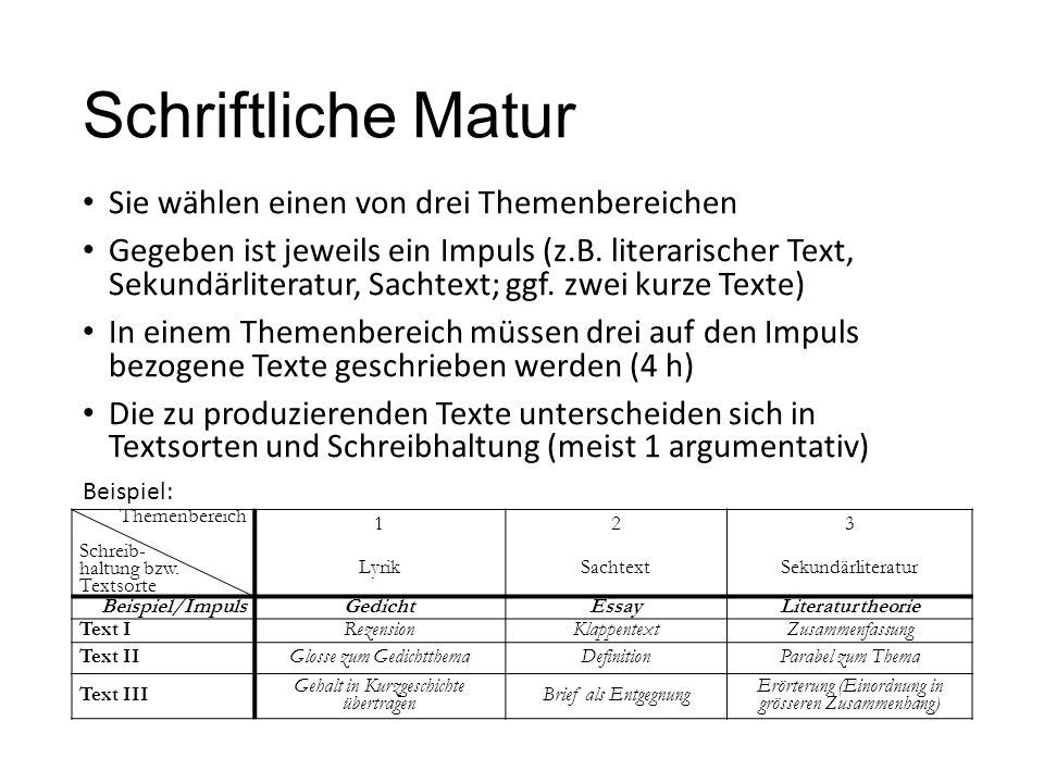 Schriftliche Matur Sie wählen einen von drei Themenbereichen Gegeben ist jeweils ein Impuls (z.B. literarischer Text, Sekundärliteratur, Sachtext; ggf