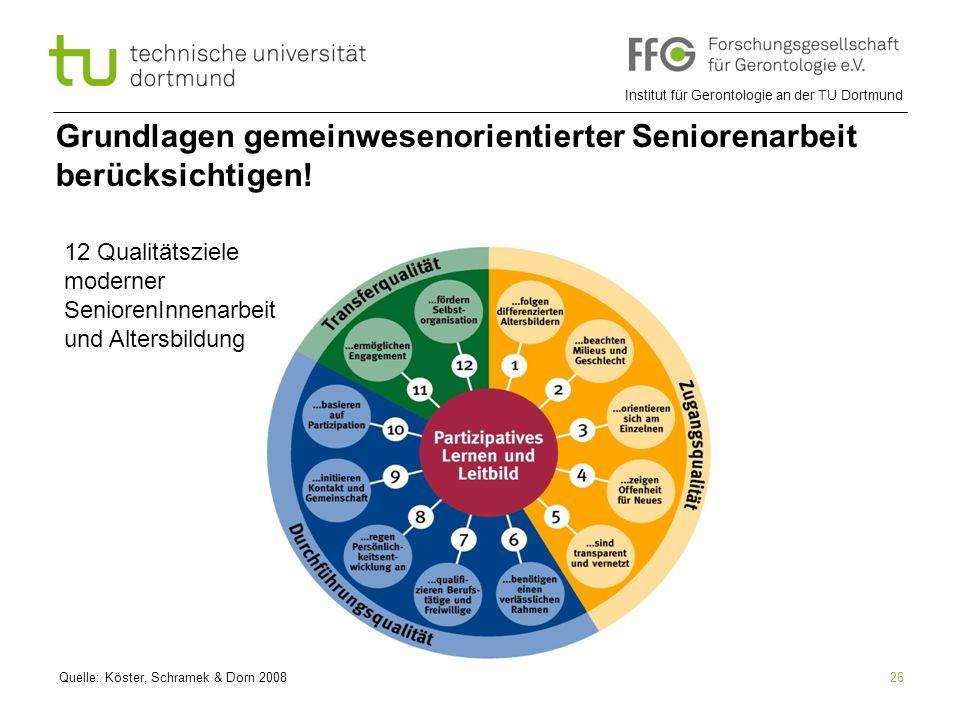 Institut für Gerontologie an der TU Dortmund 26 Grundlagen gemeinwesenorientierter Seniorenarbeit berücksichtigen! Quelle: Köster, Schramek & Dorn 200