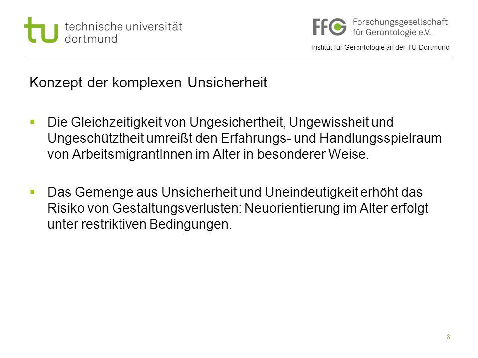 Institut für Gerontologie an der TU Dortmund 8 Konzept der komplexen Unsicherheit  Die Gleichzeitigkeit von Ungesichertheit, Ungewissheit und Ungesch