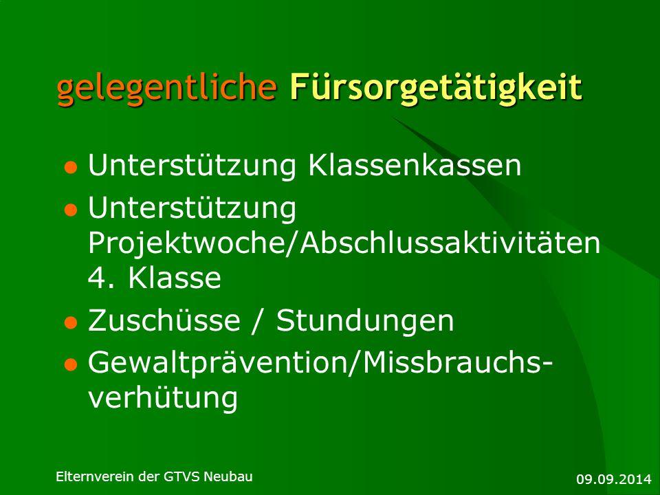 09.09.2014 Elternverein der GTVS Neubau gelegentliche Fürsorgetätigkeit Unterstützung Klassenkassen Unterstützung Projektwoche/Abschlussaktivitäten 4.