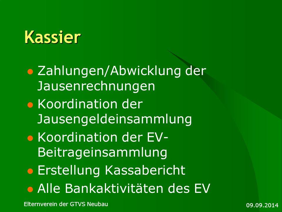 Kassier Zahlungen/Abwicklung der Jausenrechnungen Koordination der Jausengeldeinsammlung Koordination der EV- Beitrageinsammlung Erstellung Kassaberic
