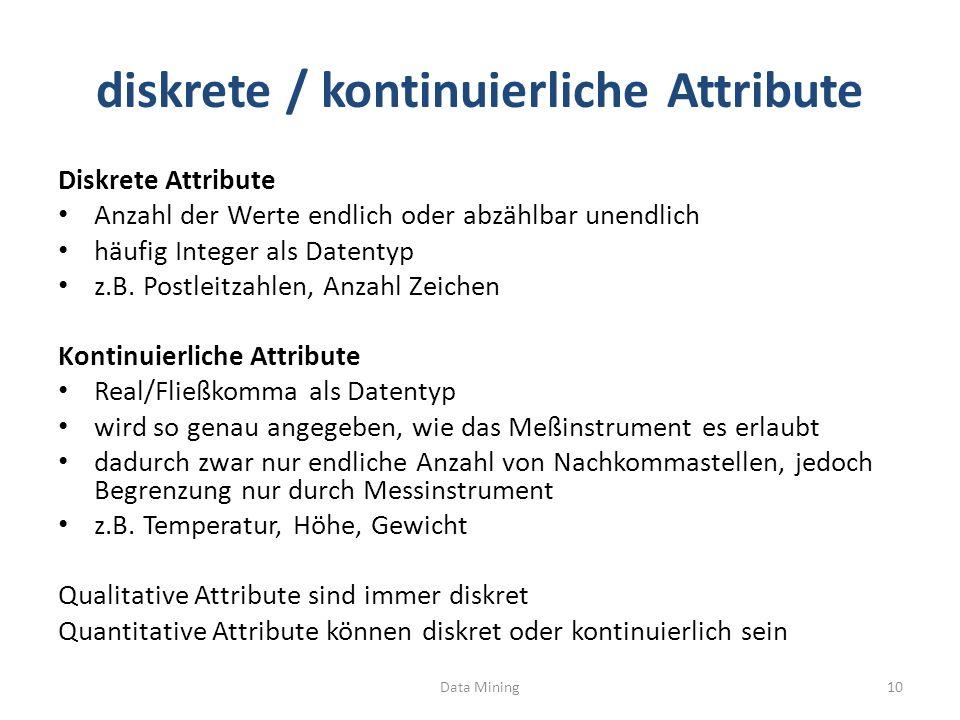 diskrete / kontinuierliche Attribute Diskrete Attribute Anzahl der Werte endlich oder abzählbar unendlich häufig Integer als Datentyp z.B. Postleitzah