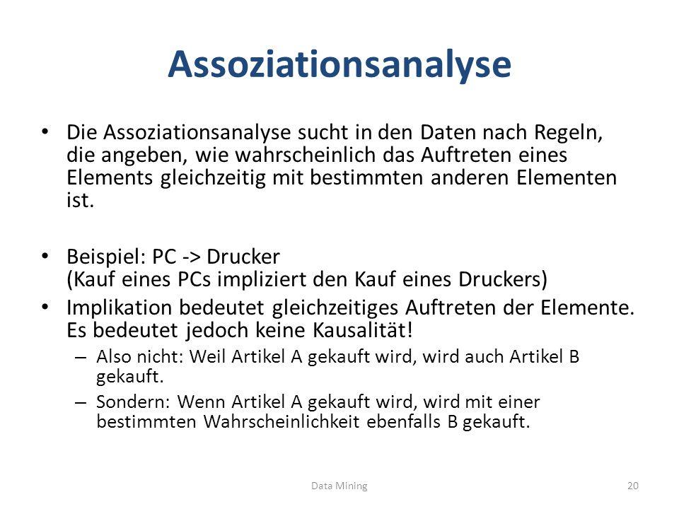 Assoziationsanalyse Die Assoziationsanalyse sucht in den Daten nach Regeln, die angeben, wie wahrscheinlich das Auftreten eines Elements gleichzeitig mit bestimmten anderen Elementen ist.