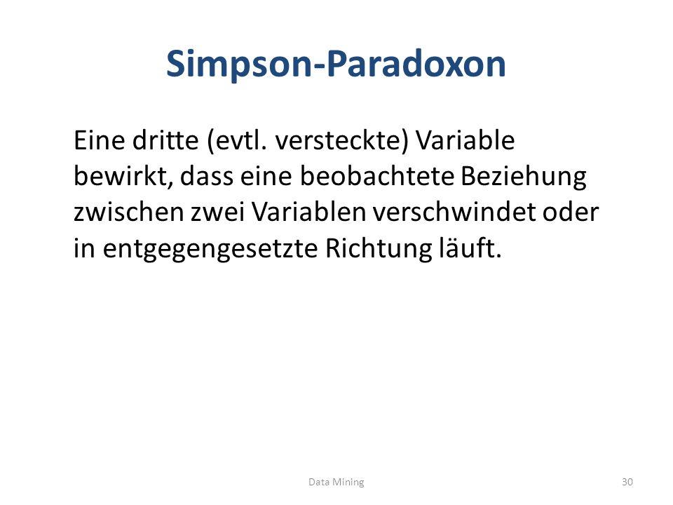 Simpson-Paradoxon Eine dritte (evtl. versteckte) Variable bewirkt, dass eine beobachtete Beziehung zwischen zwei Variablen verschwindet oder in entgeg