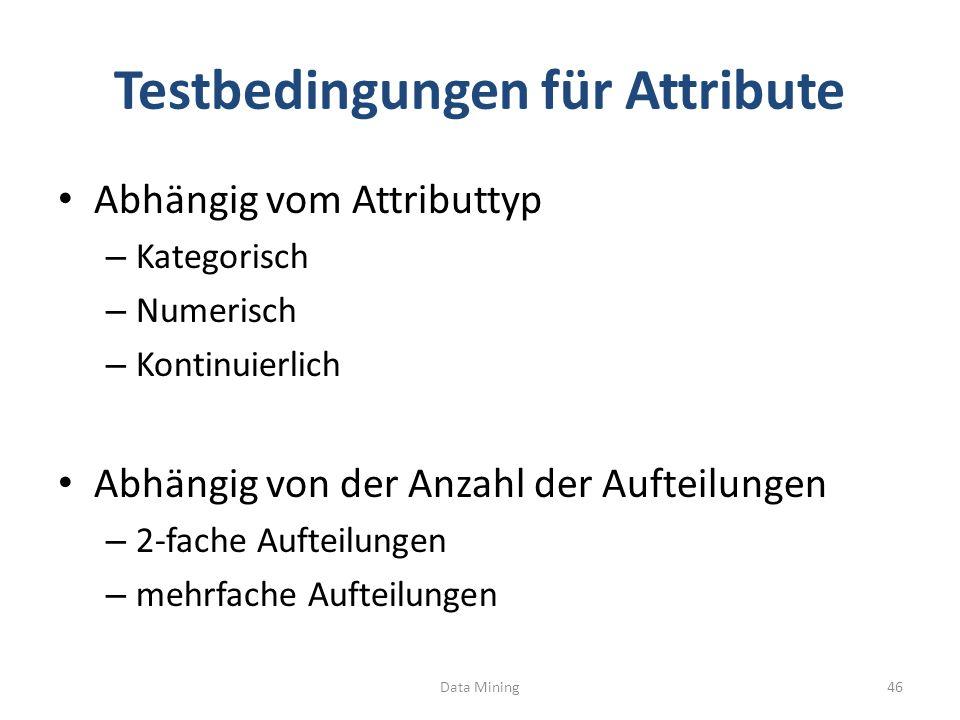 Testbedingungen für Attribute Abhängig vom Attributtyp – Kategorisch – Numerisch – Kontinuierlich Abhängig von der Anzahl der Aufteilungen – 2-fache Aufteilungen – mehrfache Aufteilungen Data Mining46