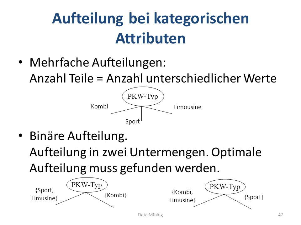 Aufteilung bei kategorischen Attributen Mehrfache Aufteilungen: Anzahl Teile = Anzahl unterschiedlicher Werte Binäre Aufteilung.
